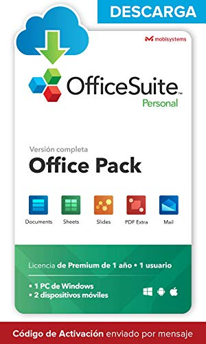 OfficeSuite Personal - DESCARGA / Licencia Online - Compatible con Office Word® Excel® y PowerPoint® y PDF para PC Windows 10, 8.1, 8, 7 - licencia de 1 año, 1 usuario