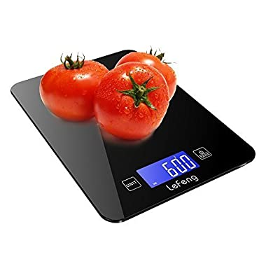 Updated Digital Kitchen Scale Baking, Food Scales Grams for Dieting Cooking Accurate, Smooth Tempered Glass with Touch Screen, Black (4 Batteries Included)