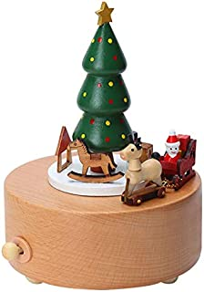 Amor Present Christmas Music Box, Wooden Music Box Christmas Tree Girl Musical Box for Birthday Wedding Christmas
