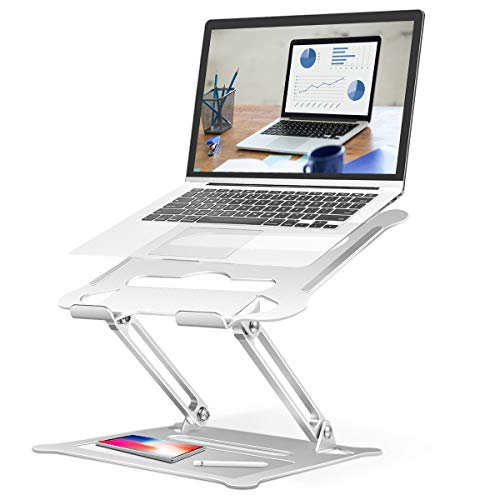 """Portable Laptop Stands, Multi-angle Laptop Riser with Heat-Vent, Space-saving Cooling Ergonomic Tray Mount, Adjustable Folding Notebook Stand Holder Compatible for Laptop Tablet (10-17"""") -Silver"""