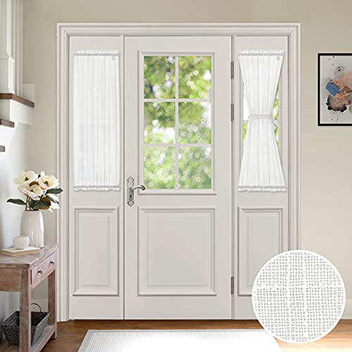 MIULEE 2 Pieces White Semi Sheer Curtains for Front French Door Linen Textured Window Panels for Light Filtering W 25 x L 40 Inches