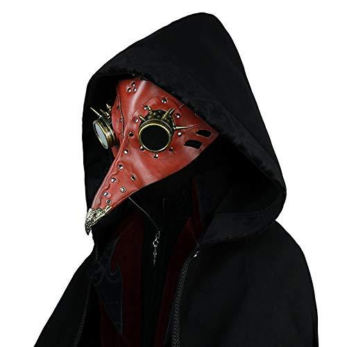 FELICIOO Fiesta De Disfraces De Halloween Steampunk Apoyos Doctores De La Plaga Medieval De Pico Máscara (Color : Red)