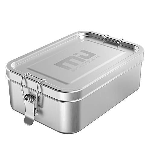 MIU COLOR Brotdose Edelstahl 800ml mit Fächern, Premium Auslaufsichere Metall Lunchbox Brotbox Brotzeitbox für Kinder & Erwachsene, BPA-& Plastikfrei, Spülmaschinenfest
