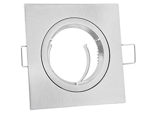 linovum® Foco empotrable rectangular con aspecto de acero inoxidable cepillado, rígido, incluye portalámparas GU10 para LED o halógeno.