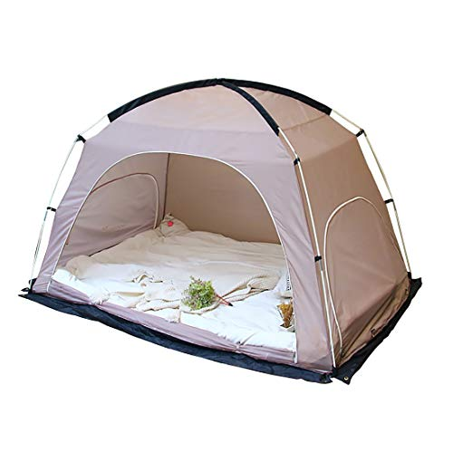 Likary Queen Size Bed Tent, Indoor Privacy Tent, Portable Pop Up Outdoor Tent, Cozy Sleep in Drafty Indoor Privacy Tent on Bed Dream Tent Keep Warm Play Tent for Adults and Kids (Light Brown)