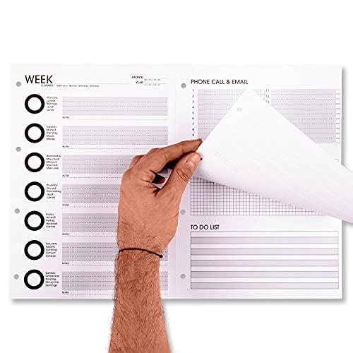 Planificador semanal 2021 mensual y diaria, de escritorio, un gran A3, planificador de mesa con calendario, organizador de 50 más 50 hojas A4 con velcro de archivo. Fabricado en Italia