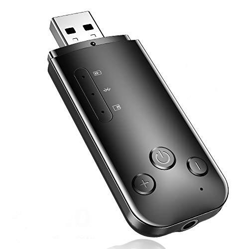 Bluetooth Adapter, 3 in 1 3,5 mm & USB Bluetooth 5.0 Empfänger Sender HiFi für TF Play Car Aux Audio Empfänger TV Kopfhörer Sender Empfänger