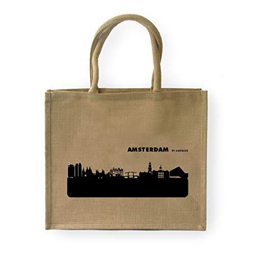 44spaces Große geräumige Einkaufstasche Amsterdam Skyline - Jute Natur/Schwarz - Stylische Picknick-Tasche Tragetasche zum Einkaufen - Multifunktional Robust Wiederverwendbar Schwere Lasten