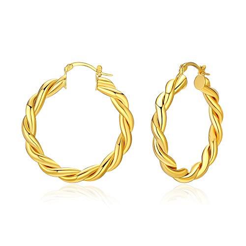 Twisted Gold Creolen für Frauen Dicke Chunky Creolen Hypoallergene Vintage Ohrringe Big 40MM