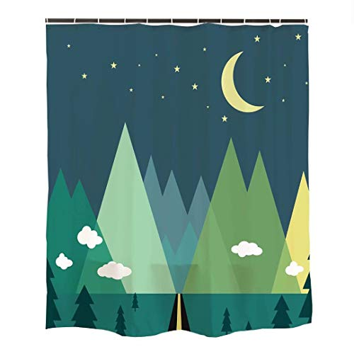 Ofat Home Green Mountain Forest Moon Star Cloud Kids Shower Curtain Sets with Hooks for Bathroom, Waterproof Fabric No Liner Needed, 72x72 inches,90GSM Fabric