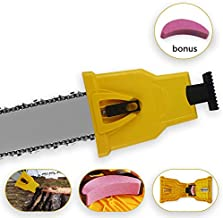 Chainsaw Teeth Sharpener Fast Sharpening Stone Grinder Tools for Saw Chain Bar-Mount Chainsaw Chain Sharpening Kit Fit with 1 or 2 Holes Bar Chainsaw for 14/16/18/20 inch Chain Sawwith Extra Stone