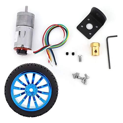Motor eléctrico, motor de engranaje codificador de Chacerls DIY con soporte de montaje, kit de ruedas de 65 mm para robot de coche inteligente DC12V(1000rpm)