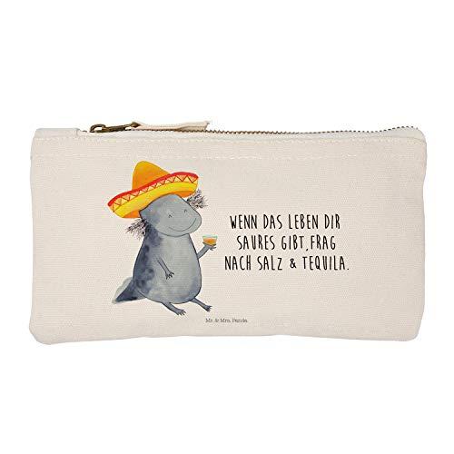 Mr. & Mrs. Panda Stiftemäppchen, Kosmetikbeutel, S Schminktasche Axolotl Tequila mit Spruch - Farbe Weiß