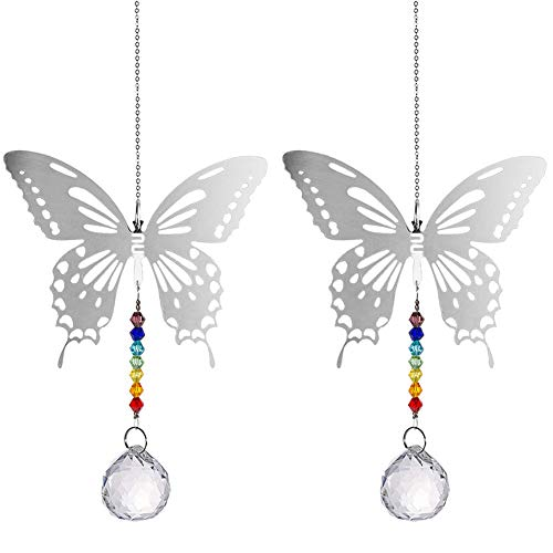 Bola de Cristal Feng Shui - 2 piezas Lámpara de Araña de Cristal Colgante prismas Techo Mariposa Bola Colgante Ventana Colgante suncatcher Ornamento