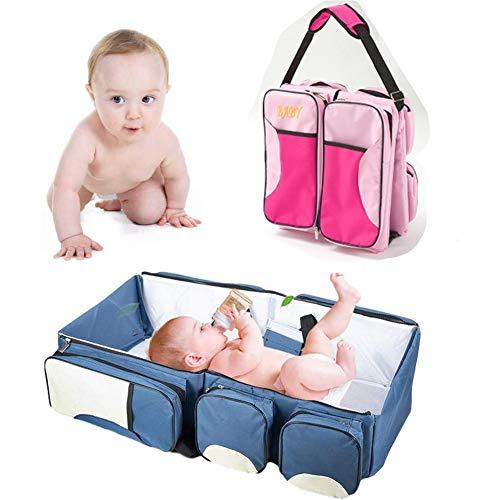 YQZ Cuna de Viaje para bebé 3 en 1, Bolsas para Cambiar pañales, Cuna de Viaje Plegable portátil, Almohadillas para Cambiar pañales para mamá bebé, Bolsa para mamá,F