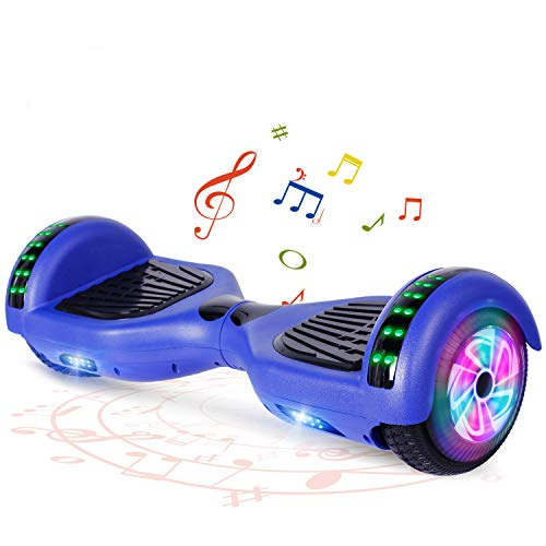 "FLYING-ANT Hoverboard UL 2272 Certified 6.5"" Two-Wheel Bluetooth Self Balancing Electric Scooter with LED Light Flash Lights Wheels Blue"