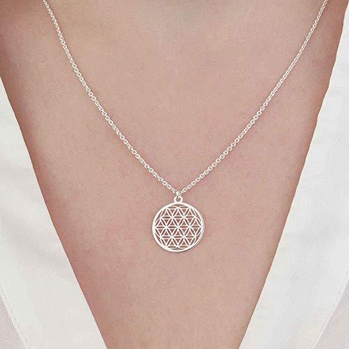 Halskette Blume des Lebens Anhänger 925 Silber ø 15 mm