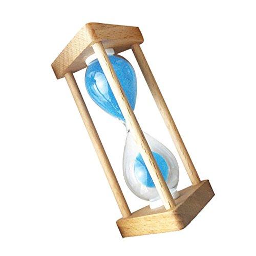 LOVIVER Sandglass Sanduhr Zahnputzuhr Hourglass Mit Holzrahmen Sand Eieruhr Teeuhr Deko - Blau - 90 Sekunden