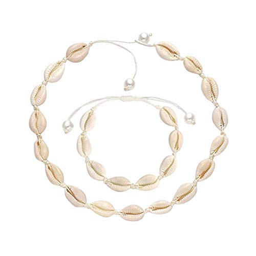 UOWEG Schmuck Damen Einfache Hawaiian Shell Pearl Einstellbare Seil Halskette Set Damen Schmuck