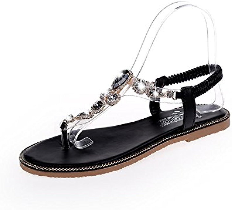 DNJKSA Fashion Women's Sandals Summer 2019 Euro-American Toe String Pearl Bohemia Flat Heel