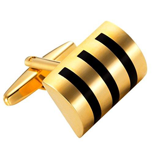 Attrayants boutons de manchette en acier inoxydable baril de whisky doré pour hommes