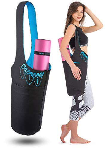 Zenifit Yoga Mat Bag - Long Tote with Pockets - Holds More Yoga Accessories. Cute Yoga Mat Holder with Bonus Yoga Mat Strap Elastics. Stylish and Practical Yoga Mat Bags and Carriers for Women, Black & Azure Blue by Zenifit