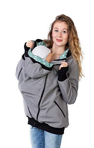 Viva la Mama - Umstandsjacke mit Baby Trageeinsatz, Kängurujacke Rücken, Rückentrage Tragejacke Frühling - AVENTURIS grau-Mint - L