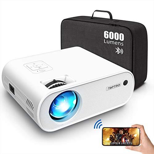 Proiettore Bluetooth WiFi, TOPTRO Mini Proiettore Portatile 6000 Lumen con Supporto HD 1080P [Contiene Borsa Portaoggetti], Home Theater Multimediale, Zoom X / Y, per TV Stick /PC / HDMI / AV / USB
