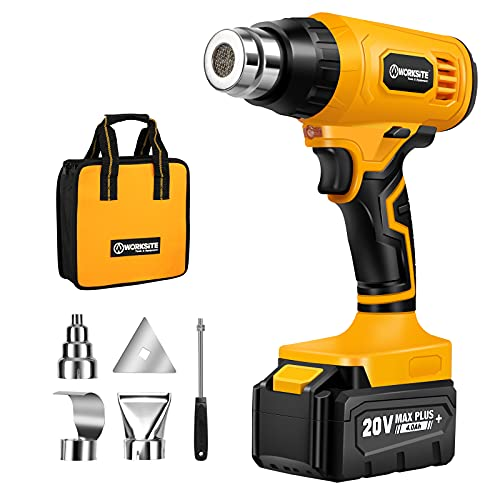 Cordless Heat Gun, 20V Max Lithium-ion Battery Hot Air Gun Kit with 4.0A Battery, Fast Charger & Tool Bag, 4 Nozzle Attachments for Crafts, Shrink PVC, Stripping Paint and More, WORKSITE