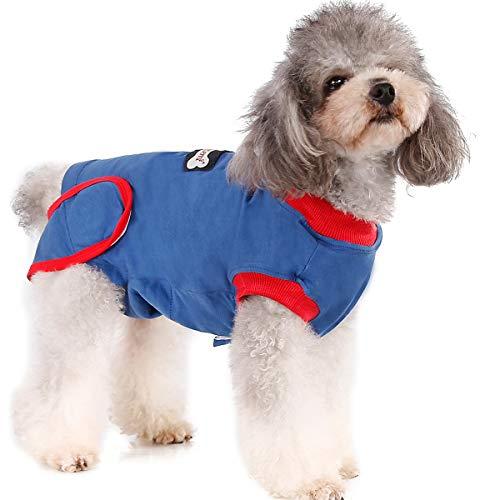 Komate Hund Wiederherstellungsanzug für die Chirurgie Chirurgische Kleidung für die Wiederherstellung von Haustieren Welpen tragen E-Halsband Alternative Hundeanzug (S (Länge 32-37 cm))