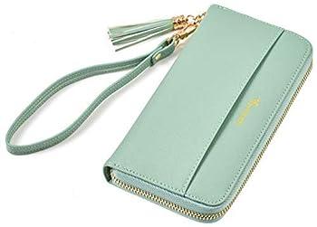 Travelambo Womens Wallet Tassel Bifold Ladies Cluth Wristlet Wrist strap Long Purse  CH Light Green