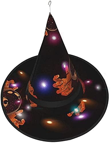 Sombrero de bruja bola de cristal mágica LED luminoso casquillo de bruja sombrero cadena luces decoración de Halloween para patio al aire libre interior árbol negro