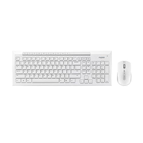 Rapoo 8200P kabelloses optisches Set aus Tastatur und Maus, 5 GHz Wireless-Verbindung, 1000 DPI HD-Sensor, weiß