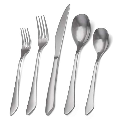 Matte Silverware Set, 20-Piece Stainless Steel Flatware Set Service for 4, Satin Finish Tableware Cutlery Set for Home and Restaurant, Dishwasher Safe