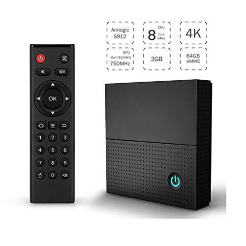 LTLZCY Android 9.0 TV Box [3GB RAM+64GB ROM] Android TV Box, WiFi 2.4Ghz Bluetooth Octa Core Arm Cortex-A53 / 4K Full HD/H.265 / USB2.0 Android Smart TV Box,3g+64g,EUPlug