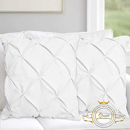 Review Of Hotel Quality White Solid Pinch Pleated Pintuck Square Pillow Shams Set of 2 - Hypoallerge...