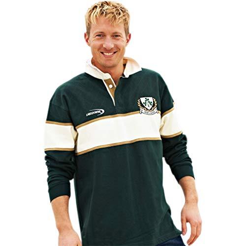 Irish Rugby Shirt with Cream Stripe and Ireland Shamrock Crest, XL