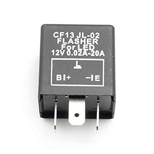 JSJJAUA Relé 12V electrónico LED Flasher Flasher Relayer 3 Pin CF13 JL-02 Automóvil Encienda la luz Flasher comúnmente a Prueba de Golpes (Color : Black)