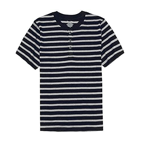 SHEEP RUN 100%メリノウール 半袖水分ウィッキング通気性の防臭剥ぐHenley Neck Tシャツ (白い+濃紺, L)