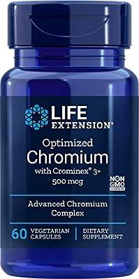 Life Extension Optimized Chromium with Crominex 3+ 500mcg Veg Cap, 60-Count