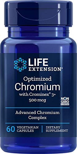 Life Extension Optimized Chromium with Crominex 3+, 500 mcg,60 Vegetarian Capsules