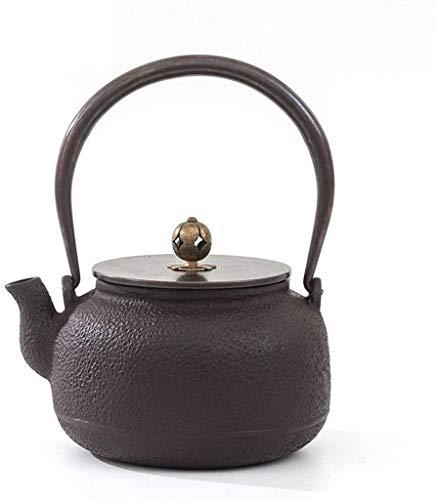 Tetera apta para té a granel o en bolsitas Tetera de hierro fundido 1.0l Tetera de tetera sin recubrimiento Pared interna oxidada -tyle Kettle Set de tetal Handle de cobre / tapa tetera vintage