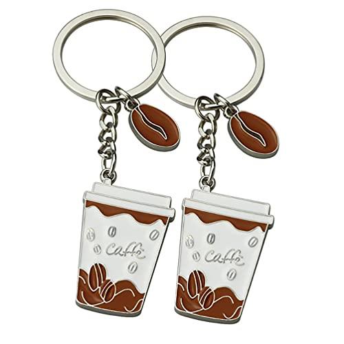 SOIMISS 2Pcs Kaffee Keychain Kreative Kaffee Becher Förmigen Schlüssel Ring Anhänger Charms Geschenk für Tasche Gürtel Schleife Zubehör Mini Rucksack Haken Hängen Ornament