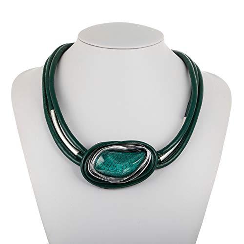 Mypace - Bracelet en argent 925 - Pour homme et femme - Résine créative - Cuir - Cordon géométrique - Bijou Femme s vert