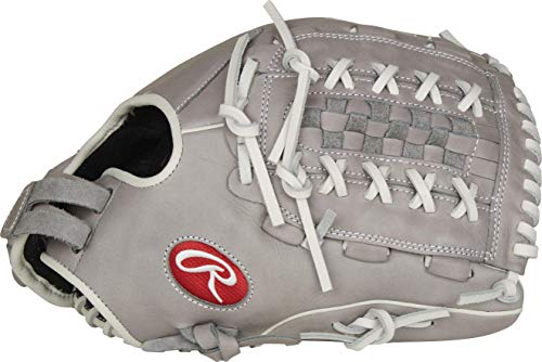 Rawlings Mädchen R9SB125-18G-0/3 Softball-Handschuh, 31,8 cm – Grau/Weiß, 12.5 inch-Double Basket Web