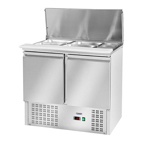 Royal Catering Kühltisch Saladette Kühltheke RCKT-90/70-3 (240 Liter, 2-10°C, Thermostat, 170 W Kompressor, 2 Kühlfächer, Klappdeckel, Edelstahl)