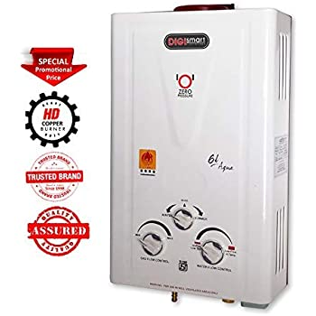 DIGISMART 6 LTR. Instant 100% Copper Tank with Anti Rust Coating Body to Saves Your Geyser from Corrosion by Water, ISI Approved LPG Gas Water Heater Aqua (Ivory)