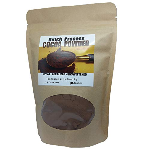 ECOM Dutch Processed Cocoa Powder 22/24 Alkalized Unsweetened Light Brown European Style (8 oz)