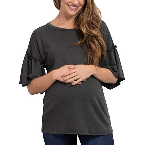 HX fashion Odzież ciążowa damskie topy ciążowe rozkloszowane rękawy bluzka do karmienia klasyczna dziecko macierzyństwo T-shirt topy ubrania