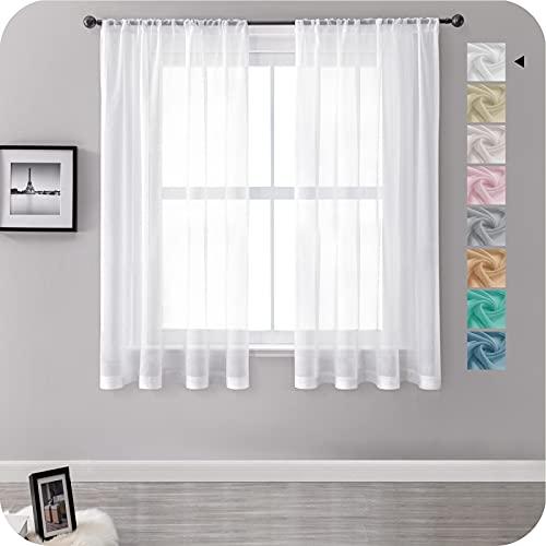 MRTREES Vorhänge Gardinen mit Store Vorhang Voile halbtransparent kurz in Leinenoptik Gardine Schals Weiß 160×140cm (H×B) für Wohnzimmer Schlafzimmer Kinderzimmer 2er Set